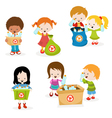 Kids Collecting Plastic Bottles for Recycle vector image