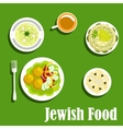 Kosher dishes of jewish cuisine1 vector image vector image