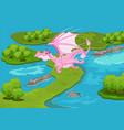 magic pink dragon vector image