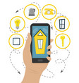 manage smart home systems with your smartphone vector image