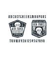 narrow serif font and air force emblems vector image vector image