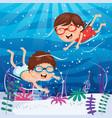 of kids swimming underwater vector image vector image