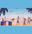 people on summer sea beach seaside music fun vector image vector image