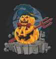 pumpkin halloween devil artwork vector image vector image