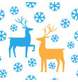 seamless pattern deers and snow happy new year vector image vector image