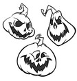 set of back and white scaring halloween pumpkins vector image