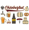 Set of beer icons Oktoberfest icons vector image vector image