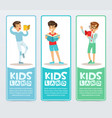 set of vertical banners with teenagers reading vector image vector image