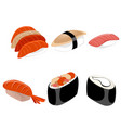 six pieces sushi vector image vector image