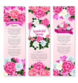spring holidays floral greeting banner set vector image vector image