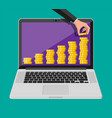 stack gold coins and hand on screen laptop vector image