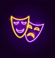 theater masks neon sign vector image