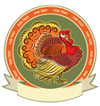 Turkey symbol on label background vector image vector image