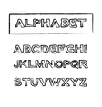 Vintage rubber stamp outline font alphabet vector image
