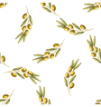 watercolor branches olives seamless pattern vector image