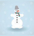 white isolated snowman with scarf and bucket vector image vector image