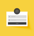 yellow login form template design background vector image