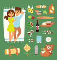 barbecue summer picnic lie man and woman lovely