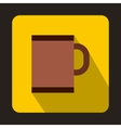 Brown tea mug icon in flat style vector image