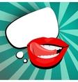 Sexy lips tongue teeth white cloud message pop art vector image