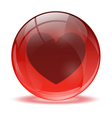 3D glass sphere and heart icon vector image vector image