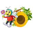a bee holding flower