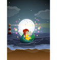 A fairy riding on a boat at the beach vector image vector image