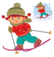 a little girl skiing vector image vector image