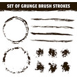 artistic brushes and round black ink strokes vector image vector image