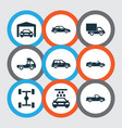 automobile icons set collection of carriage vector image vector image