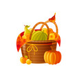 autumn fall basket with fruits vegetables icon vector image