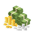 banknote money gold coins and silver coins vector image
