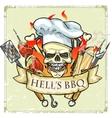 BBQ Grill label design - Hells BBQ vector image