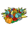 big autumn harvest vegetarian vegetables farm vector image vector image