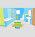 cartoon bathroom interior with furniture card vector image vector image