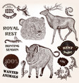 collection of hand drawn animals labels vector image vector image