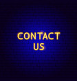 contact us neon text vector image vector image