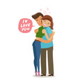 couple hugs each other love romance concept vector image vector image