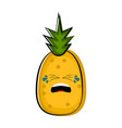 crying pineapple cartoon character emote vector image