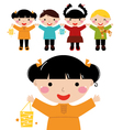 Cute autumn kids in row holding hands vector image