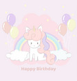 cute hand drawn unicorn party happy birthday card vector image vector image