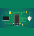 data security concept with people server and vector image vector image