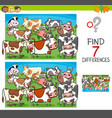 find differences with cows farm animal characters vector image vector image