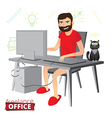 Funny bearded freelancer working at home vector image vector image