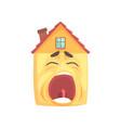 funny sleepy house character yawning funny facial vector image