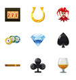gambling icons set cartoon style vector image vector image