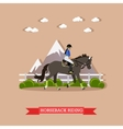 Girl horseback riding flat design vector image vector image