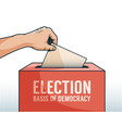 hand down ballot paper in box for election vector image