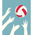 hands playing volleyball vector image