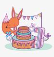 happy fox birthday three years with cake vector image